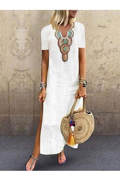 Casual V-Neck Printed Short-Sleeved Dress