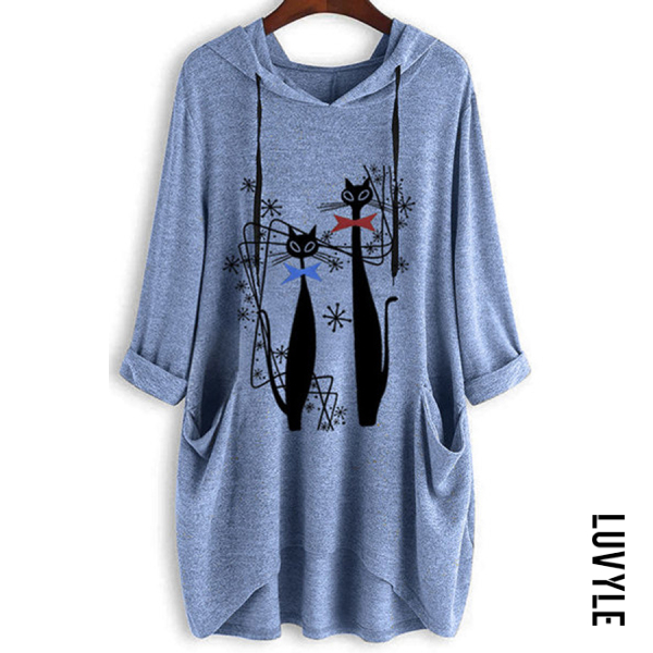 Blue Knitted Printed Long-sleeved Irregular Hoodie Blue Knitted Printed Long-sleeved Irregular Hoodie