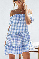 Off Shoulder  Gingham  Short Sleeve Casual Dresses