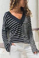 V Neck Stripes Color Block Patchwork Casual T-Shirts