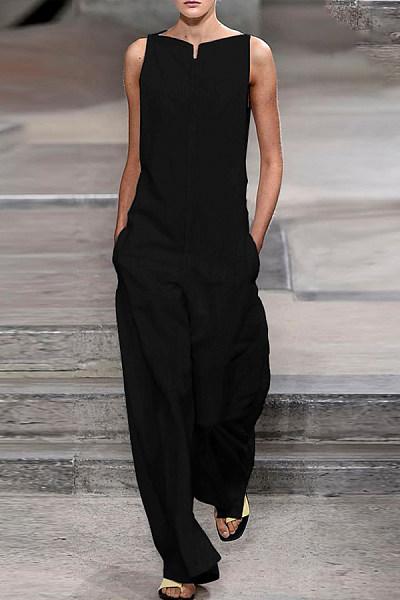 Round Neck  Loose Fitting  Plain  Sleeveless Jumpsuits