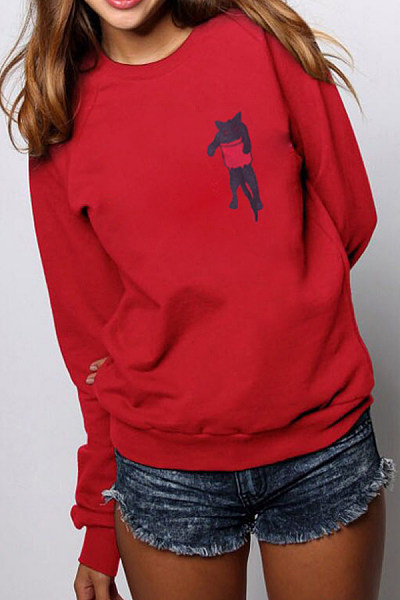Round Neck Long Sleeve Cat Sweatshirt