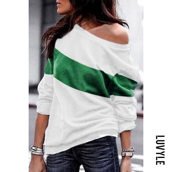 Green Casual Colouring Long Sleeve T-Shirt Green Casual Colouring Long Sleeve T-Shirt