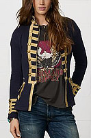 Band Collar  Double Breasted  Patchwork Blazers