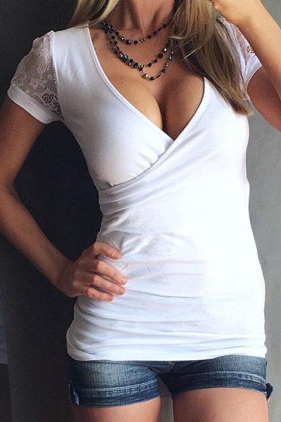 V Neck Patchwork Plain Short Sleeve T-shirts