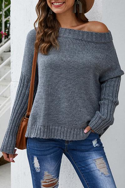 Shoulder Collar Plain Casual Sweater