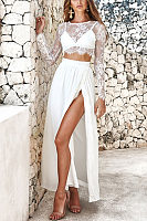 Sexy Elegant Lace Chiffon Long Sleeves Maxi Dress