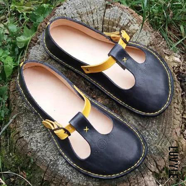 Black Flat flat shallow mouth contrast casual shoes Black Flat flat shallow mouth contrast casual shoes