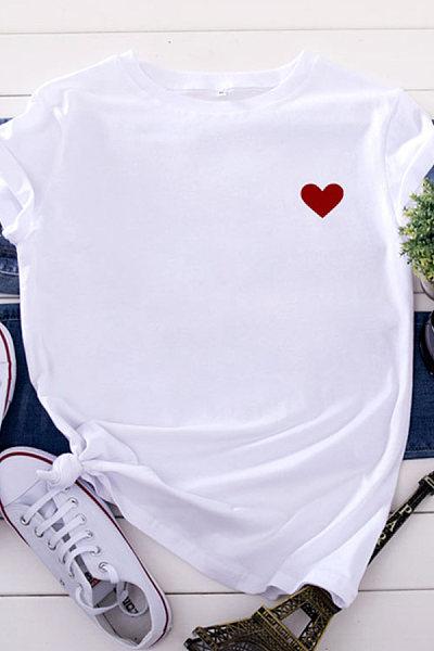 V Neck Print Short Sleeve T-shirt
