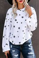 Fashion Star Print Round Neck Long Sleeve T-Shirt