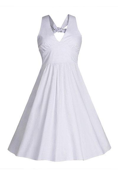 Halter Plain Flared Skater Dress
