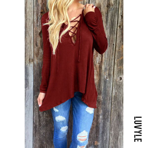 Claret Red Deep V Neck Asymmetric Hem Lace Up Plain T-Shirts Claret Red Deep V Neck Asymmetric Hem Lace Up Plain T-Shirts