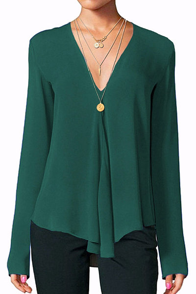 V Neck  Patchwork  Brief  Plain  Long Sleeve   Blouse