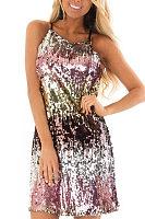 Spaghetti Strap  Glitter  Gradient  Sleeveless Casual Dresses