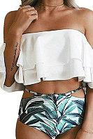 Off Shoulder  Flounce  Printed Bikini