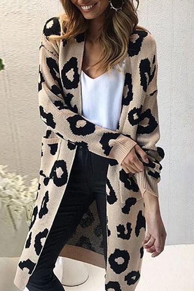 Casual Long Sleeve Printed Cardigan