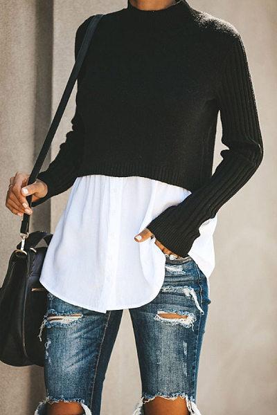 Short High Collar Fake Two-Piece T-Shirt