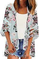 Collarless  Patchwork  Floral  Bell Sleeve Cardigans