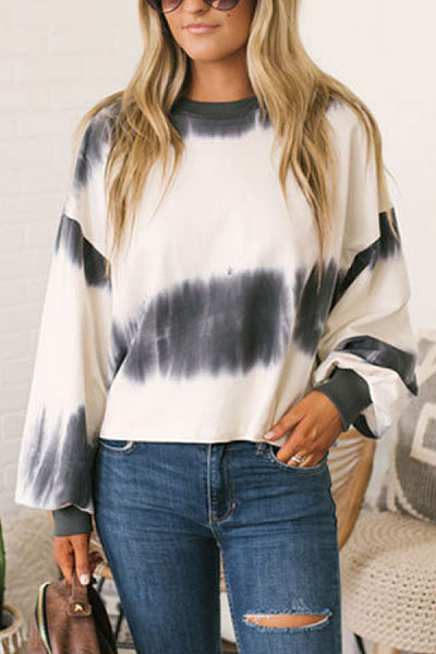 Casual Round Neck Long Sleeve Gradient T-Shirt