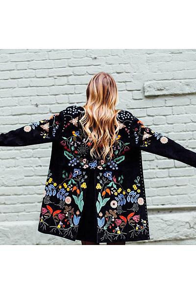 Fashion Flower Printed Lapel Collar Loose Coat