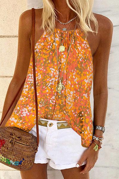 Bohemian sleeveless print T-shirt