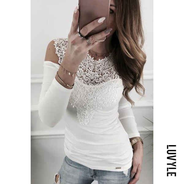 White Open Shoulder Round Neck Hollow Out Plain T-Shirts White Open Shoulder Round Neck Hollow Out Plain T-Shirts