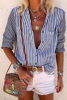 A Lapel Long Sleeve Striped Blouse