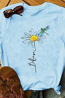 Round Neck Daisy Print Short Sleeve T-shirt