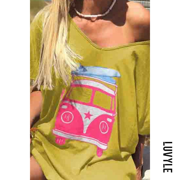 Yellow Off The Shoulder Tops Bus Printed Short Sleeve T-Shirts Yellow Off The Shoulder Tops Bus Printed Short Sleeve T-Shirts