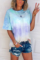 Round Neck Short Sleeve Gradient T-shirt