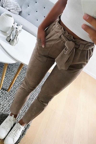 Slim Leg Belt Pants
