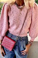 Women's fashion short puff sleeve sweater