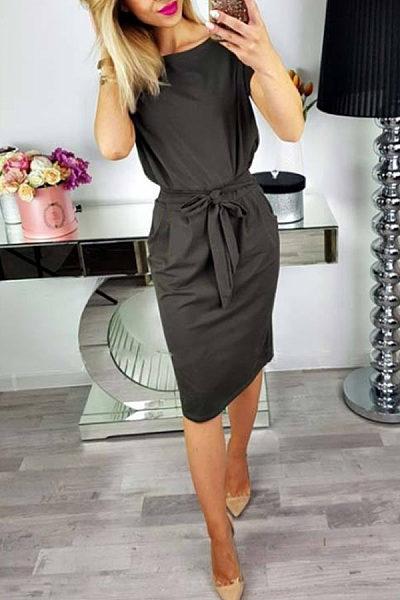 Round Neck  Belt  Plain  Short Sleeve Bodycon Dresses