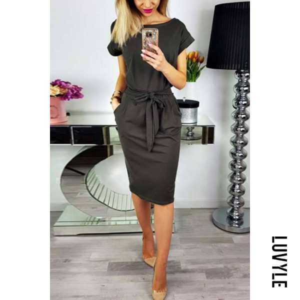 Dark Grey Round Neck Belt Plain Short Sleeve Bodycon Dresses Dark Grey Round Neck Belt Plain Short Sleeve Bodycon Dresses