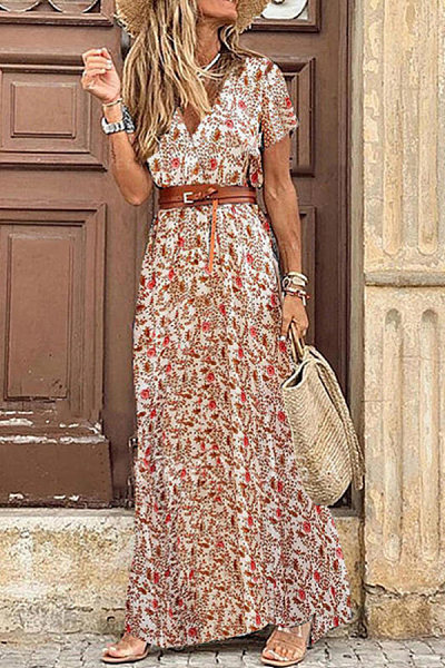 Floral Print Short Sleeves A-line Casual Maxi Dress