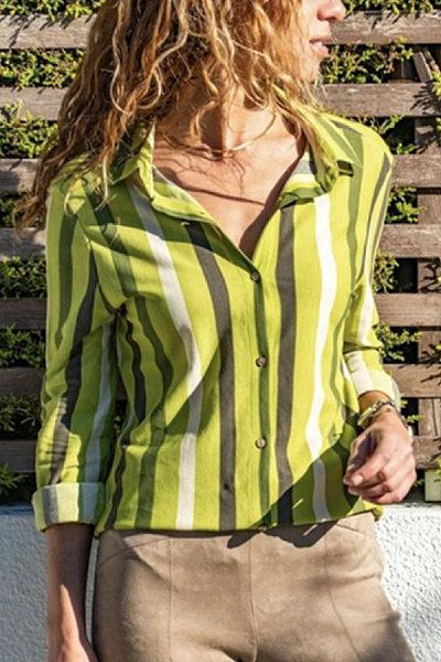 Fashion Lapel Striped Casual Blouse