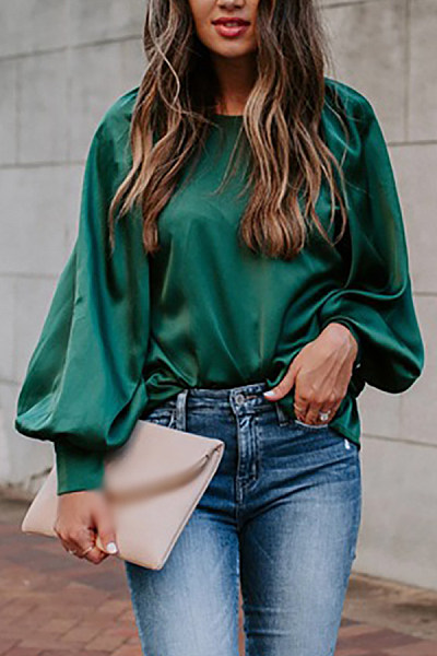 Bubble long sleeve round neck solid color pullover top
