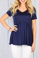 Round Neck  Ruffled Hem  Plain T-Shirts