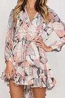 V Neck  Print  Long Sleeve Skater Dresses