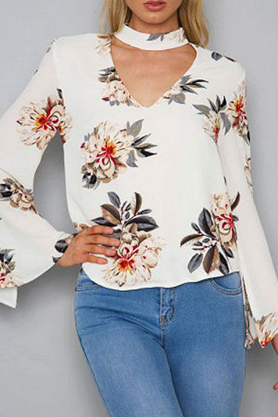Band Collar  Cutout  Floral Printed Blouses
