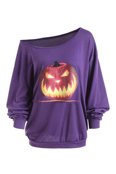 Single Shoulder Collar Pumpkin And Ghost Halloween Long Sleeve T-Shirt