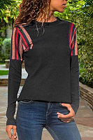 Fashion Casual Round Neck Patchwork Long Sleeves T-Shirt