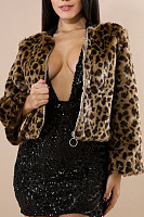 Band Collar  Zipper  Leopard Printed Outerwear