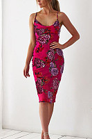 Spaghetti Strap  Printed  Sleeveless Bodycon Dresses