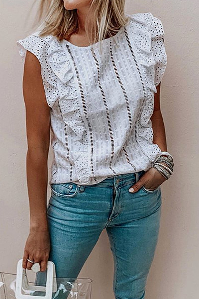 Round Neck  Ruched  Lace  Blouses