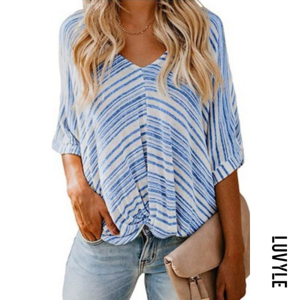Blue V Neck Casual Striped T-Shirts & Blouses Blue V Neck Casual Striped T-Shirts & Blouses
