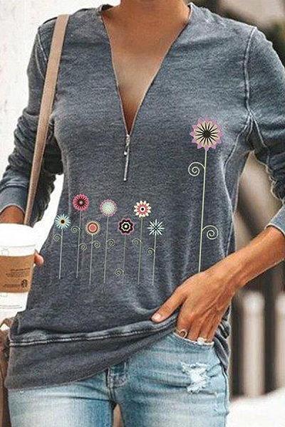 V Neck Zips Long Sleeve Printed T-shirt