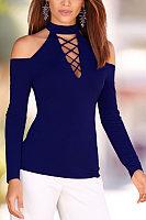 High Neck Open Shoulder  Lace Up  Plain T-Shirts