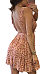 Deep V Neck  Backless  Printed Casual Dresses