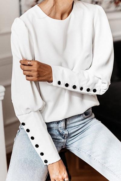 Round Neck Decorative Buttons Plain Blouse